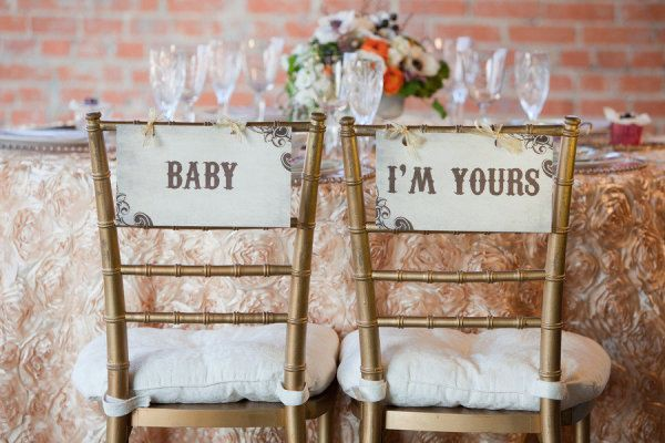 Song lyric wedding chair signs