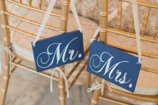 Chalkboard style Mr. and Mrs. chair signs