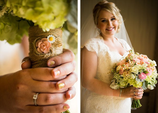 bride with pink and gold manicure holding bouquet wrapped with twine