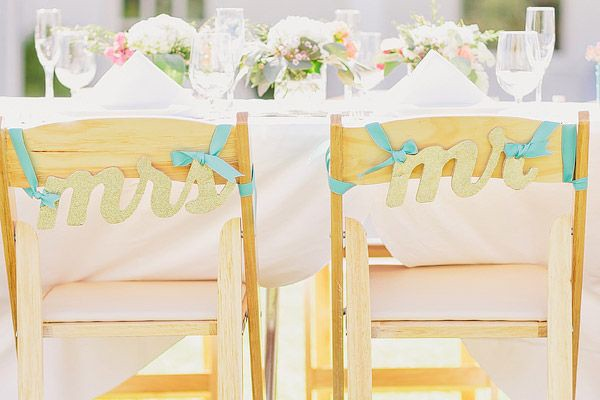 Gold glitter and teal Mr. and Mrs. chair sign