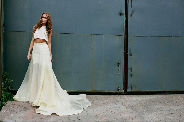 flowy crop top wedding dress with sheer skirt