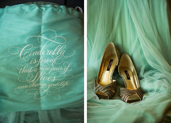 sparkly heels and witty Cinderella shoe bag