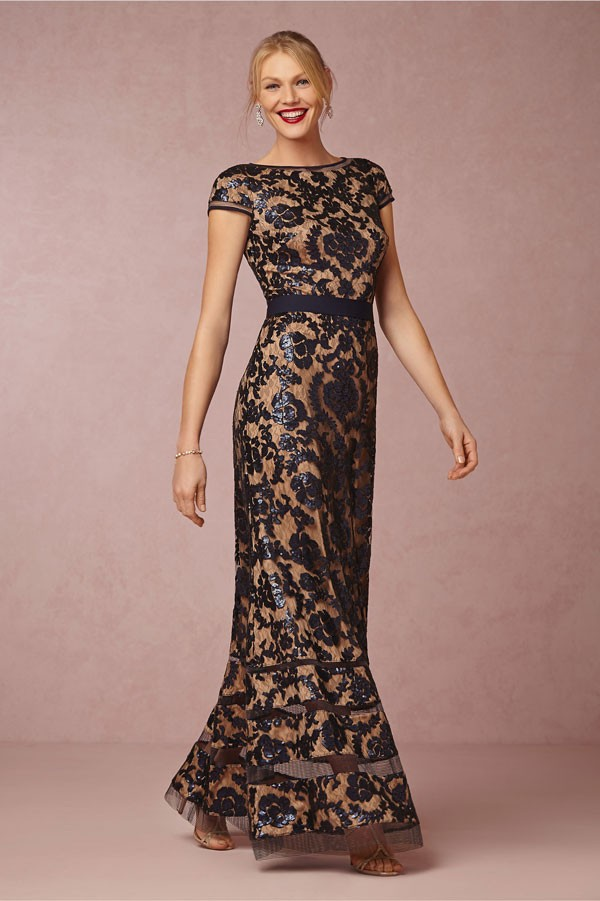 faux sheer bridesmaid dress with sequin damask detailing and cap sleeves