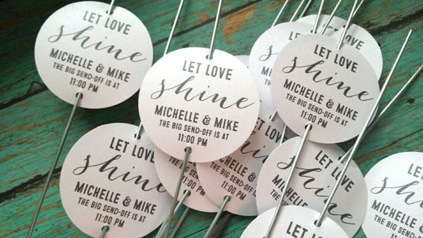 personalized sparkler tag to use during wedding exit