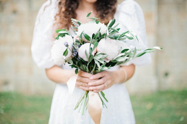peony bridal bouquet with lavender and olive leaves