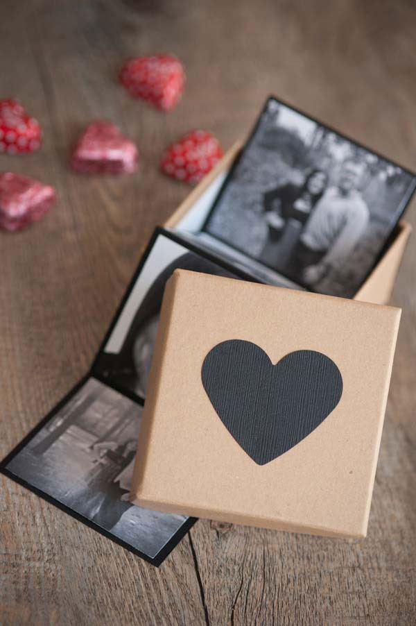 DIY photo strip inside of heart box with chocolates