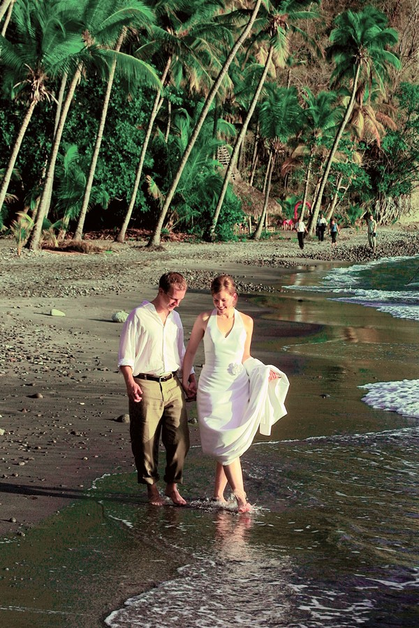 bride and groom on Saint Lucia beach