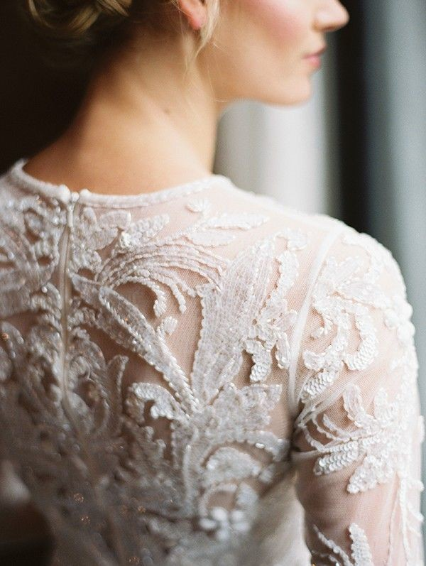 Lace and beading statement back wedding dress from Lovely