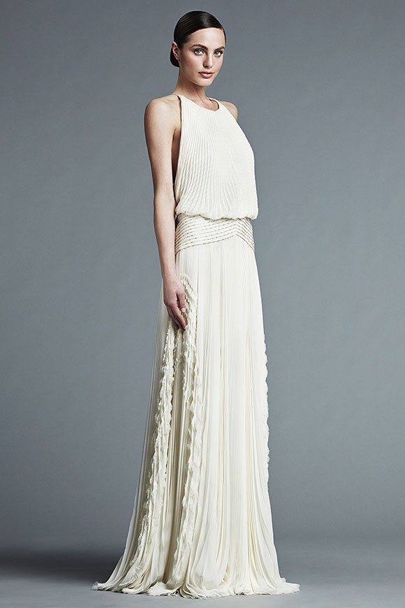 ivory wedding dress with pleated, blouson top and relaxed waistline