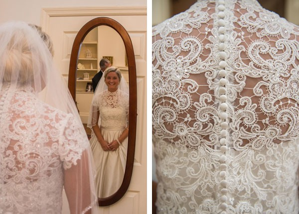 button up lace shirt with cap sleeves worn over princess wedding gown