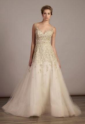 princess wedding dress with metallic petal accents