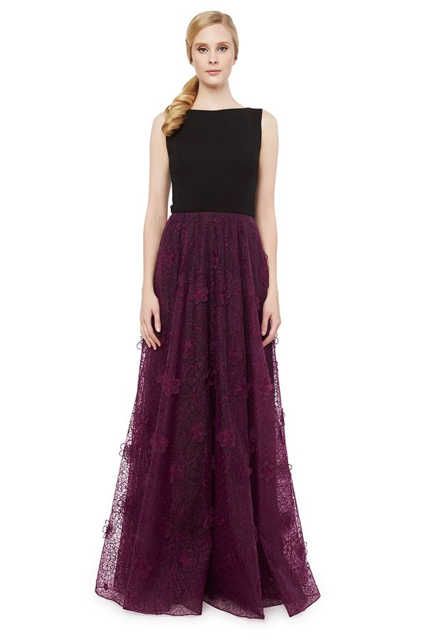 retro floor length bridesmaid dress with floral magenta lace overlay skirt