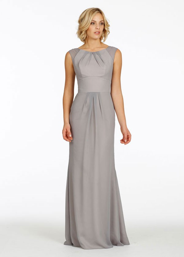 long gray bridesmaid dress with pleated bateau neckline