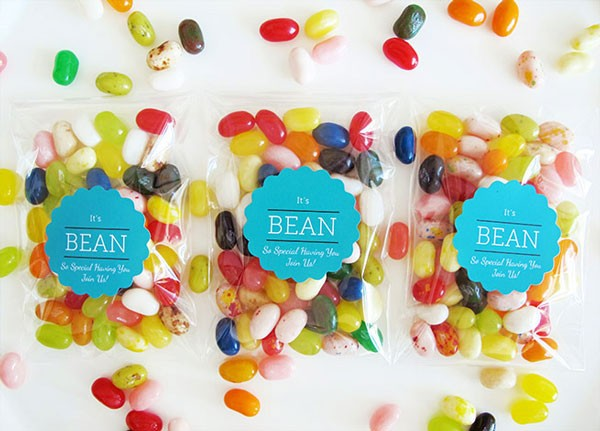 cellophane bags filled with jelly beans with punny personalized sticker