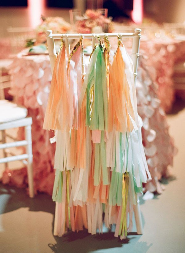 Wedding chair with multi-colored fringe