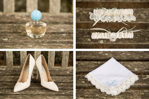 white and blue bridal accessories, handkerchief, garter, perfume