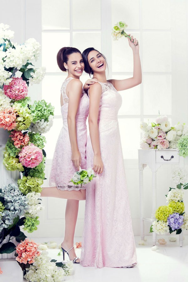 sleeveless light pink bridesmaid dresses