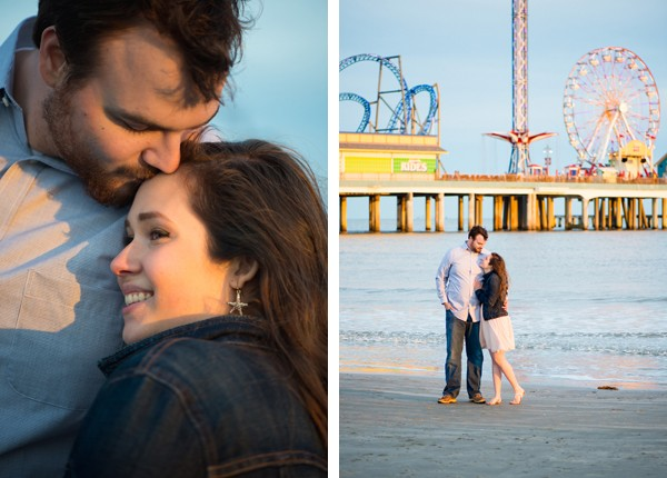 couple cuddles on Galveston Beach in Texas