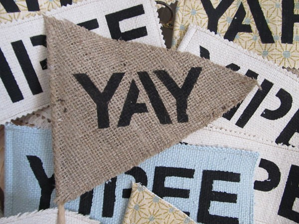 burlap wedding exit signs with bold, stenciled lettering