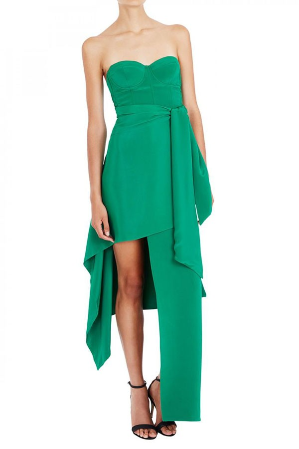 faux floor length bridesmaid dress with panels in emerald green