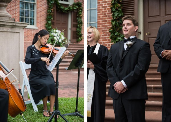 grooom waits for bride to enter ceremony as violin music plays