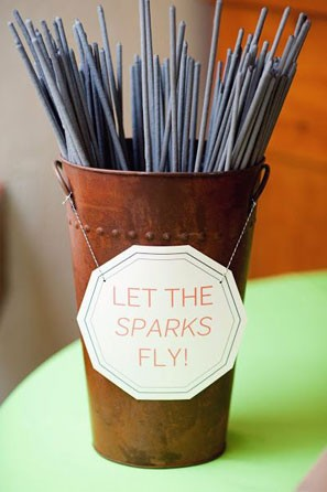 Simple signage displaying sparkler bucket sign
