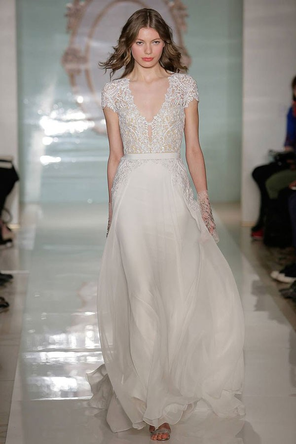 cap sleeve, sheer illusion lace bodice wedding dress with flowy skirt