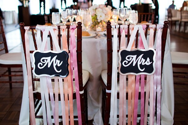 Ombre Mr. and Mrs. chair signs