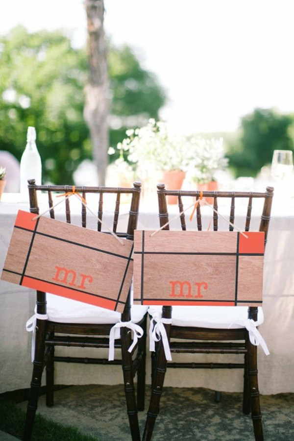 Modern wedding chair signs