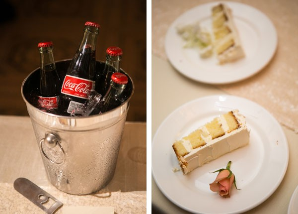 bottles of cold Coca Cola and slices of white wedding cake