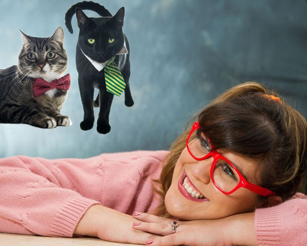 funny engagement photos with couple's housecats