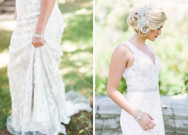 bride in lace v neck dress with sparkling headpiece and bracelet