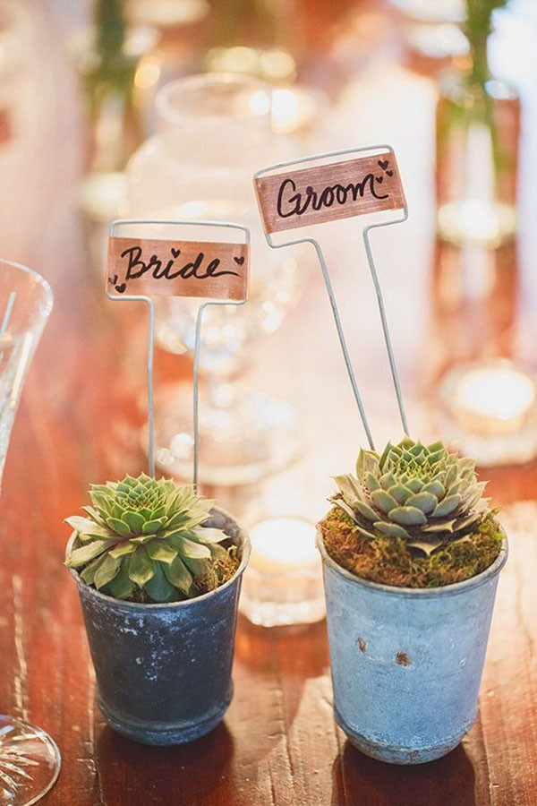 DIY copper garden marker escort cards