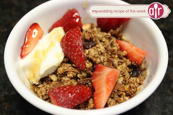 homemade granola served in a bowl with fresh fruit