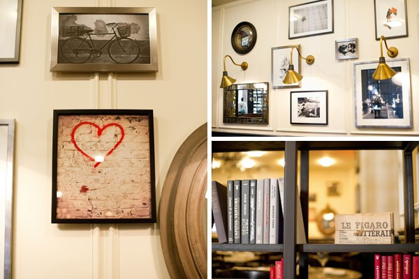 books and framed art in wine bar at Le Meridien Hotel in Florida