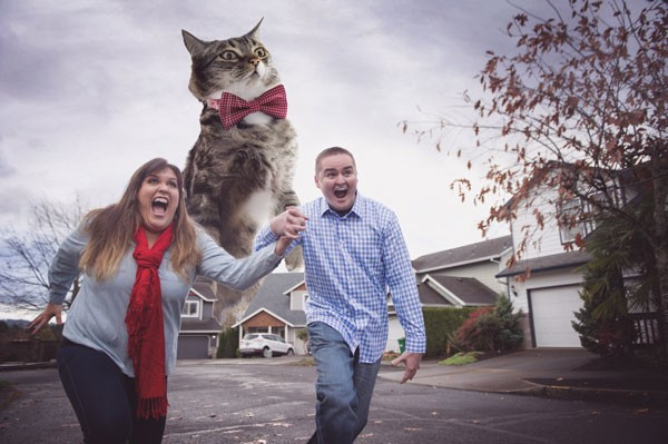 engaged couple running from their giant photoshopped cat