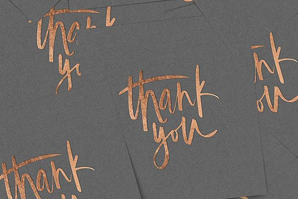 Copper foil thank you notes