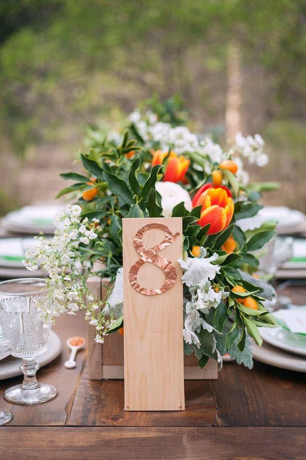 Copper foil table numbers