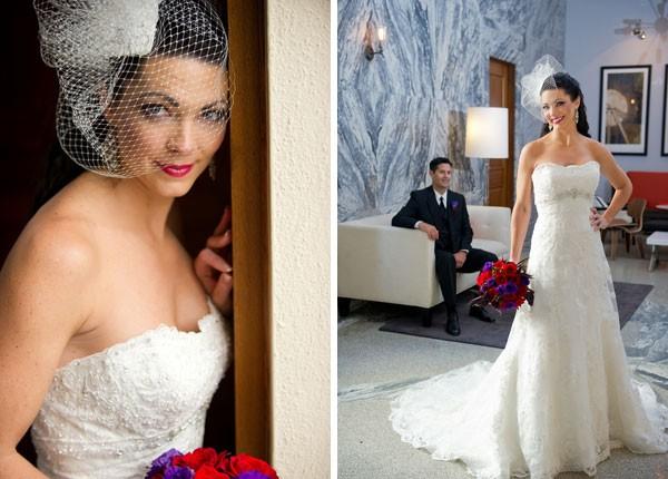 bride in floor length strapless wedding dress and high birdcage veil