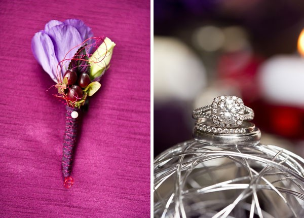 cushion cut engagement ring and purple boutonniere with berries