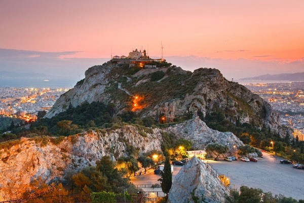 Mount Lycabettus in Athens at sunset