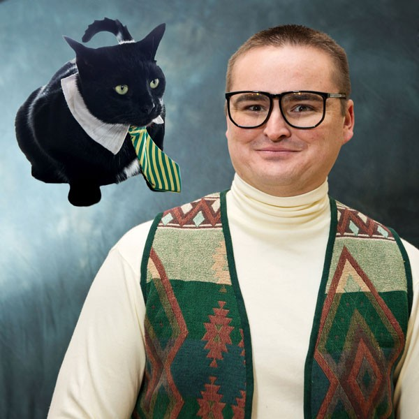 funny photoshopped cat photo with man in geeky glasses