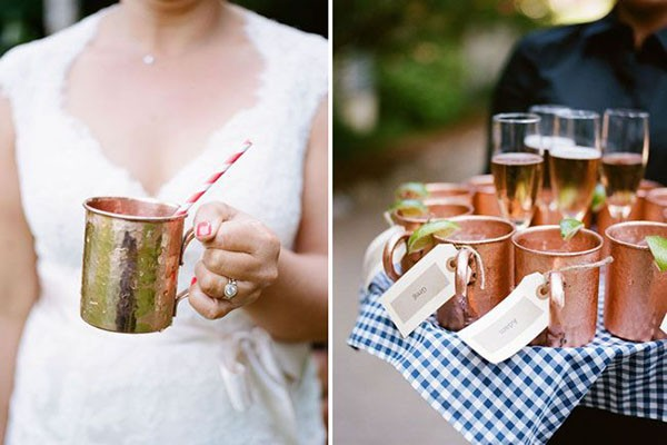 Hammered copper mugs and Moscow Mules