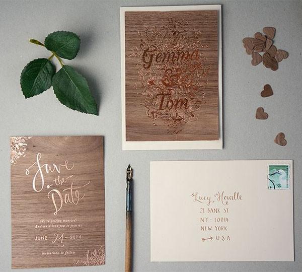 Copper foil wedding invitation suite