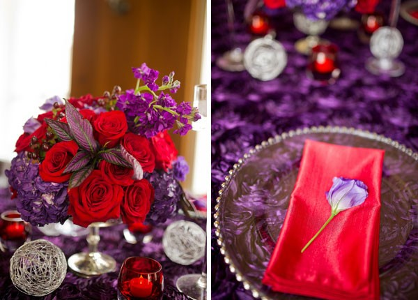 red and purple centerpiece and place setting