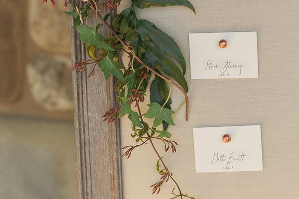 Copper pins for escort cards
